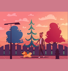 man is walking with a dog cartoon vector image