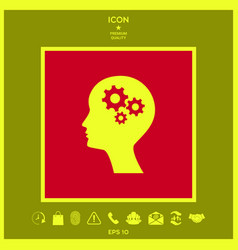 Man silhouette with gears icon vector