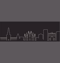 milan single line simple minimalist skyline vector image