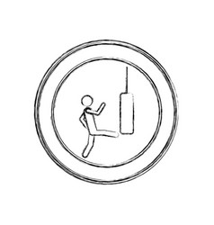 Monochrome sketch of man kicking a punching bag in vector