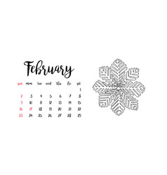 Monthly desk calendar template for month february vector