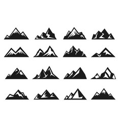 Mountain large natural rock with snow top icon set vector