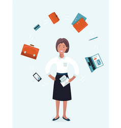 multitasking american businesswoman vector image