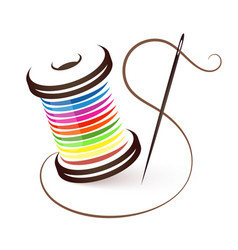 needle and coil of colored threads vector image