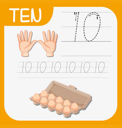 Number ten tracing worksheets vector