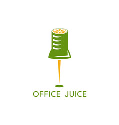 office pin with slice lemon design template vector image