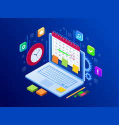 Online app on laptop business workflow time vector