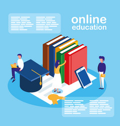 Online education mini people with smartphone and vector