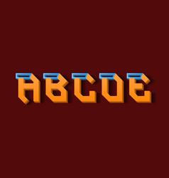 Orange blue a b c d e 3d letters decorative vector