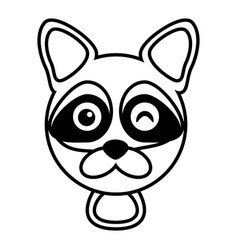 Outline raccoon head animal vector