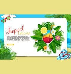 paper cut tropical dream landing page vector image