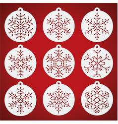 Paper work christmas balls with punched snowflakes vector