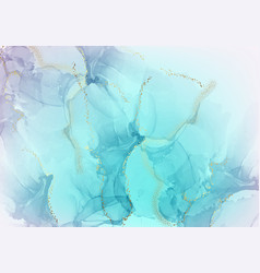 pastel gradient blue paint with gold foil marble vector image