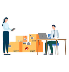 People working with parcels and laptop vector