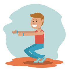 physical education - boy training exercise school vector image