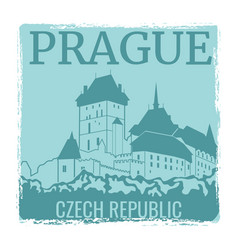 Prague travel poster design with castle vector