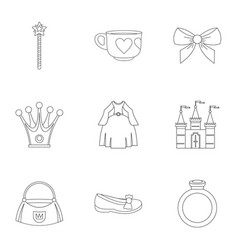 princess accessories icon set outline style vector image