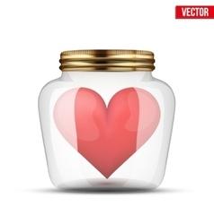 Red heart inside glass jar vector image