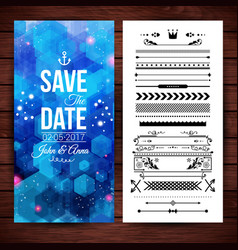 save the date note card with borders vector image