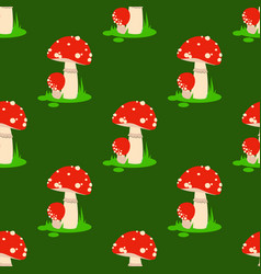 seamless pattern background amanita mushrooms vector image