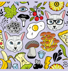 seamless pattern with hipster cats and autumn vector image