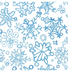 seamless snowflakes pattern watercolor texture vector image