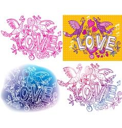 Set love sketchy vector