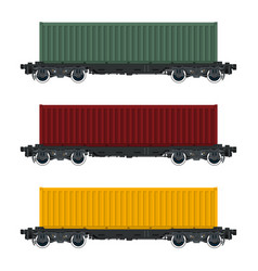 set of cargo railway containers vector image