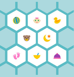 set of infant icons flat style symbols with ball vector image