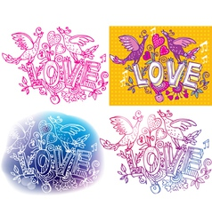 Set of Love sketchy vector image