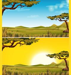 Set of savanna landscape vector