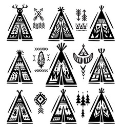 Set of tee-pee or wigwams with ornamental elements vector