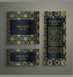 Set of three premium banners card design with vector