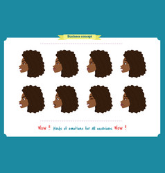 Set of woman expression isolatedgirl profile vector