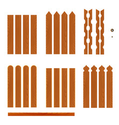 set of wooden fence planks of different forms vector image