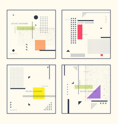 Set retro abstract geometric backgrounds the vector