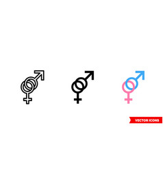 sex icon 3 types color black and white vector image