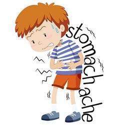 Sick boy having stomachache vector