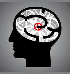 Silhouette human head with brain gears vector