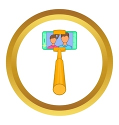 Smartphone photographs on selfie stick icon vector