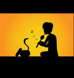 Snake charmer and cobra in silhouette art vector