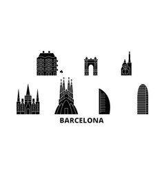 spain barcelona city flat travel skyline set vector image