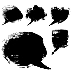 Speech bubble shapes drawn with a brush and paint vector image