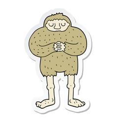 Sticker of a cartoon bigfoot vector