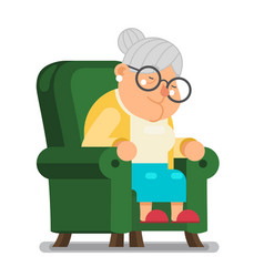 Tired sleeping granny sit nap in armchair vector