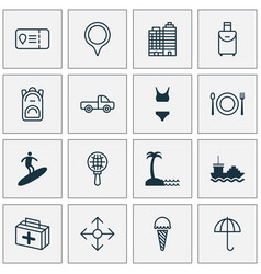travel icons set with tanker medicine seaside vector image