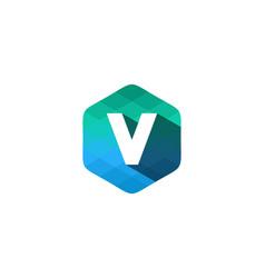 v hexagon pixel letter shadow logo icon design vector image