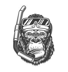 Vintage arrogant gorilla diver vector