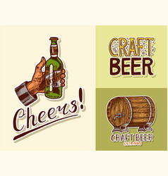 vintage beer posters cheers toast alcoholic vector image