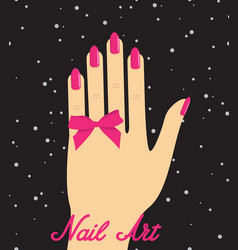 Woman hand with pink fingernails and pink bow on vector